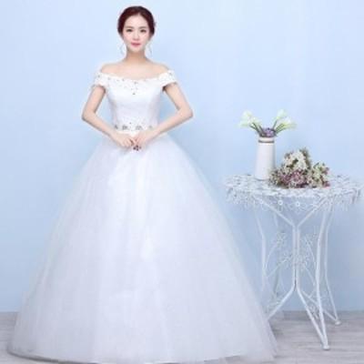 激安 韓国 花嫁ウエディングドレス 二次会 ロングドレス ステージドレス 入学式 結婚式 パーティードレス ホワイト 白 撮影 S-3XL