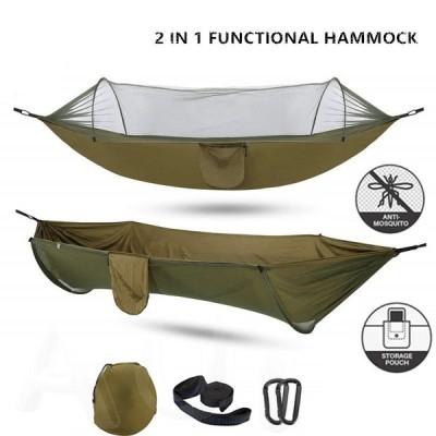 吊るしタイプハンモック ポータブル 蚊帳付き アウトドア キャンピング スイング