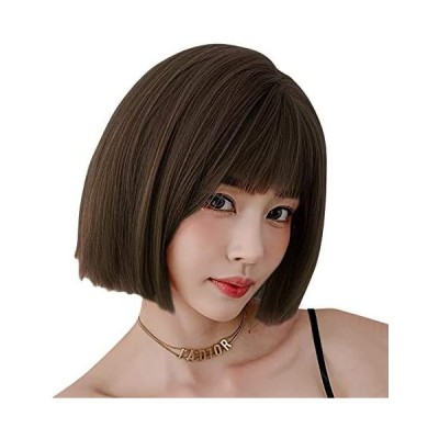 ウィッグ レディース ショート カツラ ULSTAR ストレート フルウィッグ 女性 つけ毛 かつら 違和感がない(深茶色 Free size)