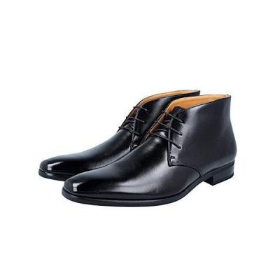 RS ビジネスシューズ ハイカット ブーツ 革靴 メンズ 紳士靴 ビジカジ (レースアップ黒, 29.0cm)