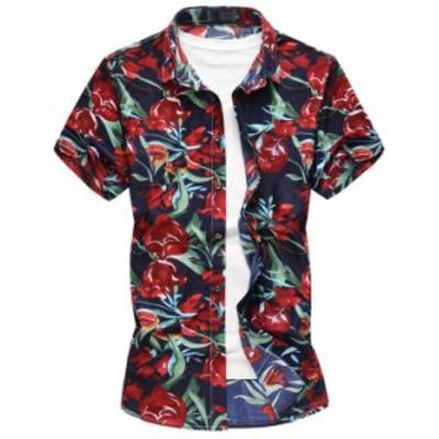 お洒落 メンズ花柄シャツ 美品 半袖 アロハシャツ 大きいサイズもあり メンズファッション  半そで 総柄 カジュアル 【M~6XL】