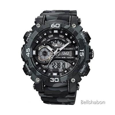Q&Q Mens Digital Wrist Watch with Dark Gray CAMO Design 並行輸入品