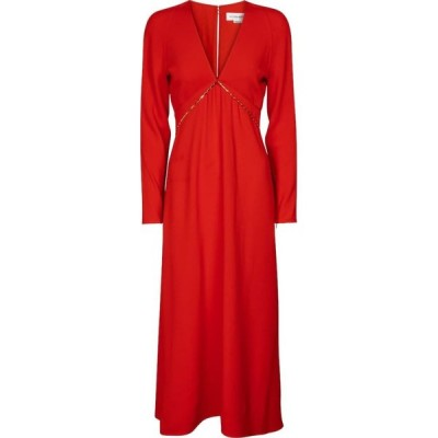 ヴィクトリア ベッカム Victoria Beckham レディース ワンピース ミドル丈 ワンピース・ドレス Embellished cady midi dress Bright Red