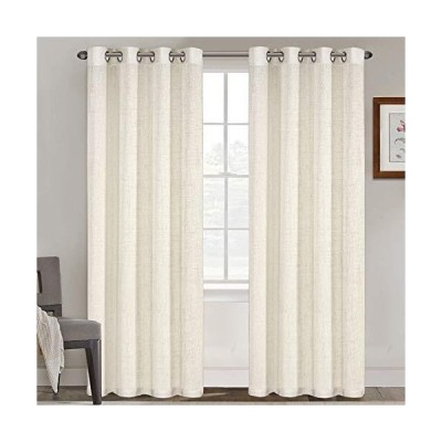 Natural Linen Blended Curtains Grommet Top Panels Privacy Added Window Panels for Bedroom Light Filtering Drapes for Living Room, Window Tre
