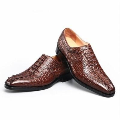 本革 ワニ革 メンズビジネスシューズ ドレスイングランドシューズ アウトソールレースの快適なブランドの靴を着用 収納ケース付き