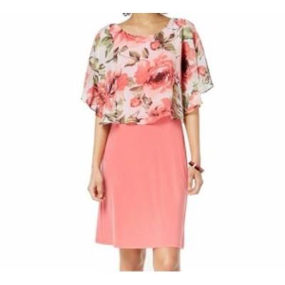 Nine West ナインウエスト ファッション ドレス Nine West Coral Pink Womens Size 12 Floral Capelet Sheath Dress