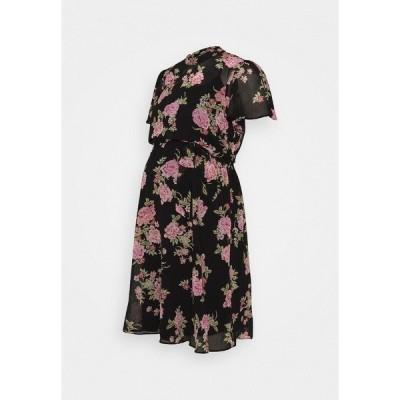 ドロシー パーキンス ワンピース レディース トップス FLORAL FIT & FLARE - Jersey dress - black/rose