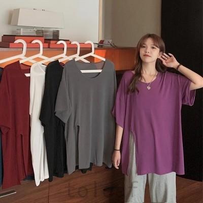 Tシャツゆったりレディース半袖Tシャツ夏物5分丈袖Tシャツ無地サマーTシャツゆったりTシャツクルーネックカットソースリット入り