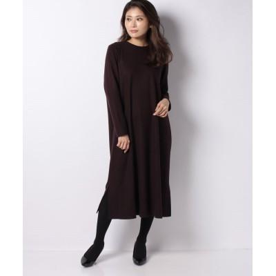 (Leilian/レリアン)【my perfect wardrobe】ウールポンチワンピース/レディース ボルドー
