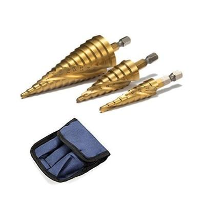Dlmond ステップドリル 六角軸 スパイラル 螺旋 チタンコーティング 収納ポーチ付 ミリ(mm)表示 HSS鋼 3本セット 3pcs 4-32m