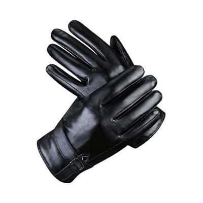 ARZER 手袋 メンズ 革 裏起毛 スマホ対応 紳士 冬 柔らか 肌触り良い (黒1) (黒1 Free Size)