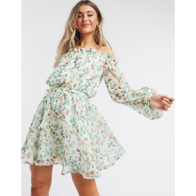 エイソス レディース ワンピース トップス ASOS DESIGN off shoulder mini dress in ditsy floral print White based floral