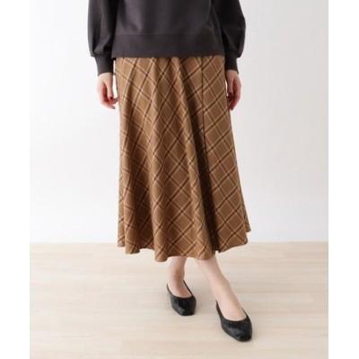 【M-L】ベルテッドチェックサーキュラースカート