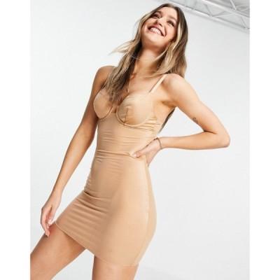 エイソス ASOS DESIGN レディース ワンピース スリップドレス ワンピース・ドレス smoothing underwire slip dress ベージュ