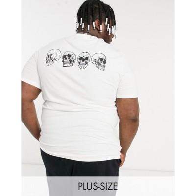 エイソス メンズ シャツ トップス ASOS DESIGN Plus oversized organic t-shirt in white with skull print