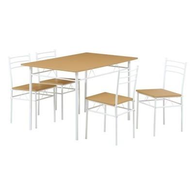 ダイニングテーブル&チェア 5点セット 〔ナチュラル〕 テーブル幅:1200mm スチールフレーム 〔リビング〕 組立品〔代引不可〕