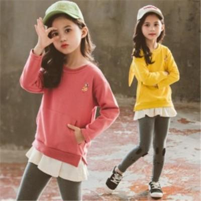 女子中高生かわいい春秋季セット子供用パンツ2点セット韓国版女の子ファッションカジュアル春秋服