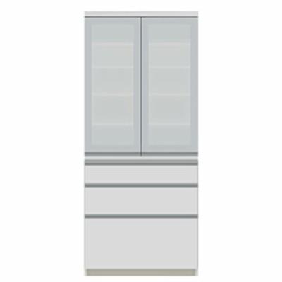 食器棚 パモウナ JI-S800K 【幅80×奥行45×高さ187cm】 パールホワイト ソフトクローズ仕様 引出し