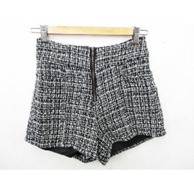 【中古】オリジナルデザイン ORIGINAL DESIGN ショートパンツ 前ポケット ツイード ポリエステル混紡 黒 白 M レディース