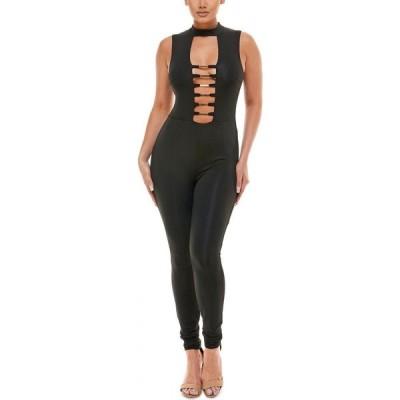 ベベ bebe レディース オールインワン ジャンプスーツ ワンピース・ドレス Cutout-Front Jumpsuit Black