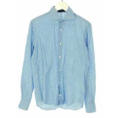 【中古】トゥモローランド TOMORROWLAND シャツ ドット柄 総柄 S 長袖 青系 ブルー系 トップス メンズ