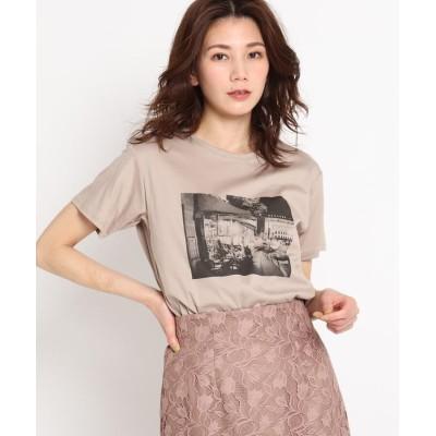 COUP DE CHANCE(クードシャンス) 【洗える】カフェエフェクトプリントTシャツ