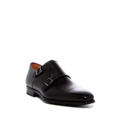 マグナーニ メンズ ドレスシューズ シューズ Carmo Leather Double Monk Strap Loafer - Wide Width Available BLACK