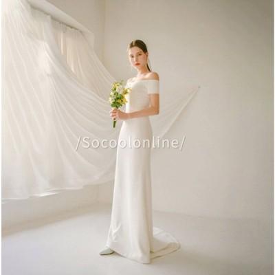 ウエディングドレス Aラインドレス スレンダーライン 海外ウエディング 発表会