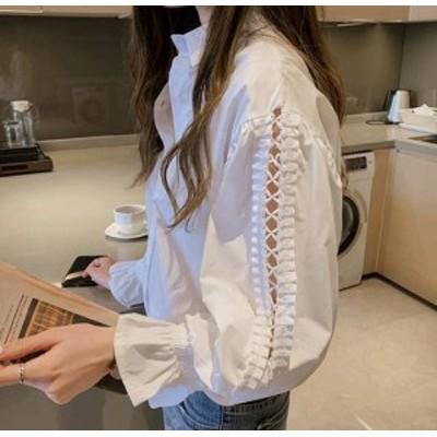 シャツ ブラウス トップス 大きいサイズ 袖コンシャス 肌見せ 長袖 無地 おしゃれ ゆったり 大人可愛い 韓国 オルチャン ファッション