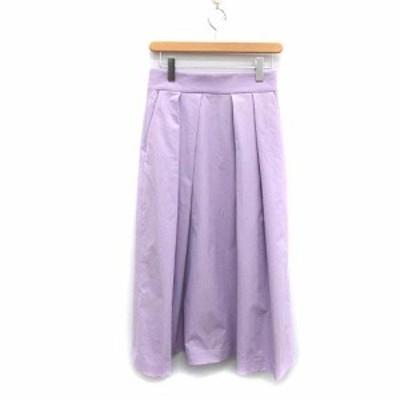 【中古】アングローバルショップ 17年製 スカート ロング ミモレ フレア 36 S 紫 パープル ラベンダー レディース