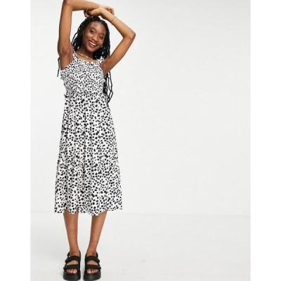 インフルエンス レディース ワンピース トップス Influence midi dress in black and white spot Black/white
