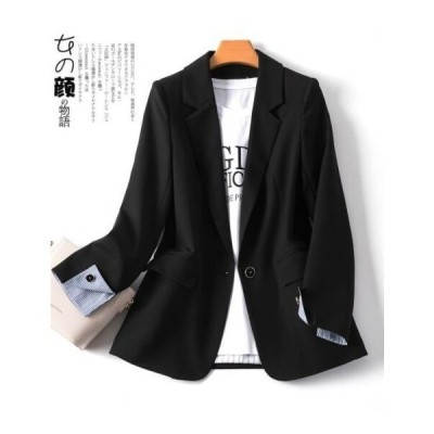 大人気 ブレザー ジャケット レディース テーラード おしゃれ スーツジャケット 一つボタン トップス 上着 アウター オフィス 通勤/OL ショート丈 細身