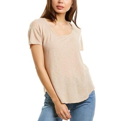 スリードッツ シャツ トップス レディース Three Dots Basic Scoop T-Shirt ginger