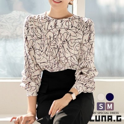 シフォン ブラウス レディース おしゃれ プリント トップス 韓国 ファッション フォーマル スーツ インナー オフィス 結婚式 パーティー