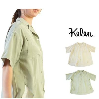 KELEN ケレン オープンカラー シャツ 5分袖 開襟シャツ サテン ブラウス 半袖 背面タック Port LKL20HBL2
