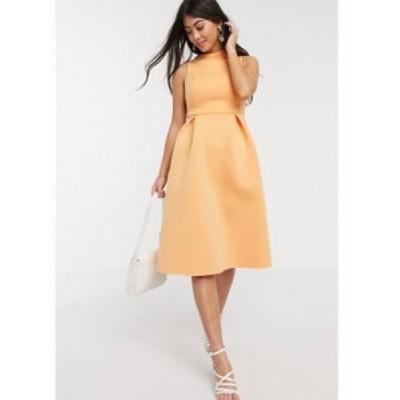 エイソス ASOS Petite レディース ワンピース ASOS DESIGN Petite high neck sleeveless midi prom dress with lace up back in washed t