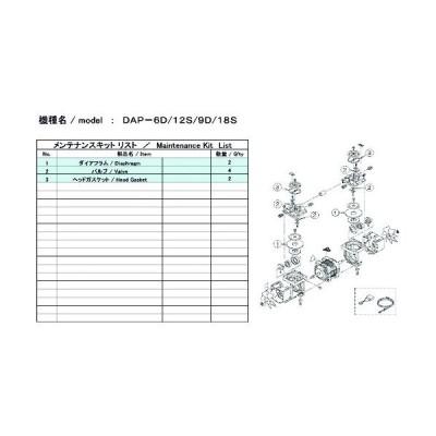 ULVAC DAP−6D/12S用メンテナンスキット (1式) 品番:DAP-6D/12S MAINTENANCEKIT