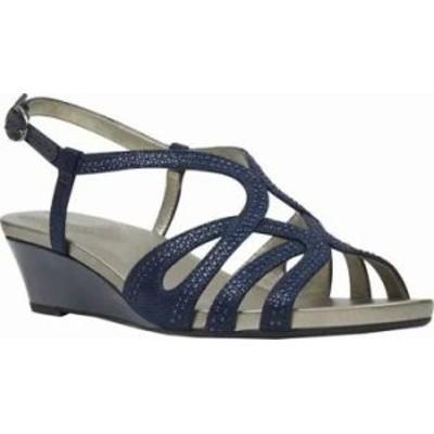 Bandolino レディースサンダル Bandolino Gyala Wedge Strappy Sandal Blue Embellish