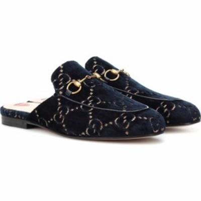 グッチ Gucci レディース スリッパ シューズ・靴 Princetown velvet slippers Blue/Beige/Blu