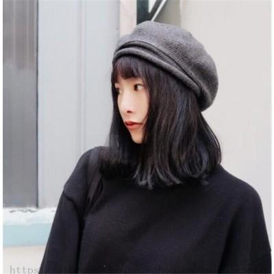 ベレー帽 ニット 冬 ぼうし 防寒 小物 キャップ 帽子 可愛い フェイクファー ゆったり フリーサイズ