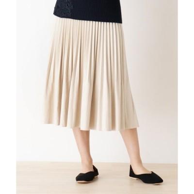 スカート フェイクスウェード変形プリーツスカート