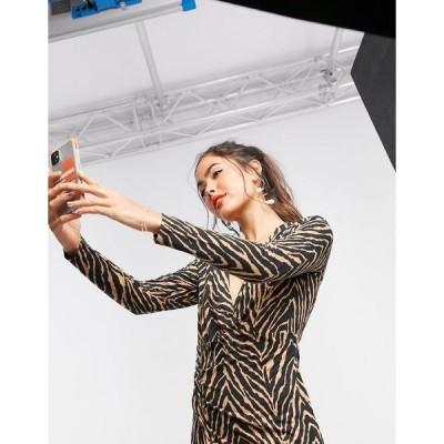 リクオリッシュ レディース ワンピース トップス Liquorish long sleeve wrap dress in zebra print Zebra print