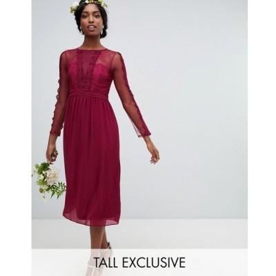 ティー エフ エヌシー TFNC Tall レディース ワンピース ワンピース・ドレス lace detail bridesmaid midi dress in burgundy Burgundy