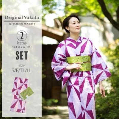 京都きもの町オリジナル 浴衣2点セット「パープル レトロ幾何学模様」綿 S、F、TL、LL 女性浴衣セットss2006ykl50