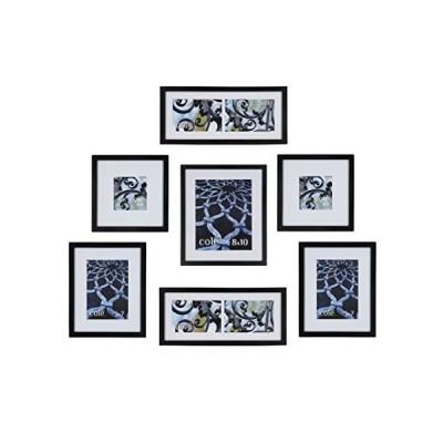 Philip Whitney 5pieceダークウッドマット壁吊りギャラリーアートフォト写真フレームセット水平または垂直 7Piece Matted