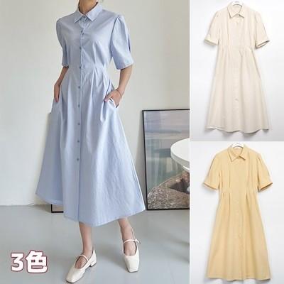 韓国ファッション バイオウォッシュコットンピンタックワンピース