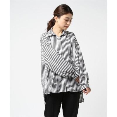 シャツ ブラウス ストライプ柄 ボリューム袖 シャツ