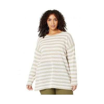 Eileen Fisher アイリーンフィッシャー レディース 女性用 ファッション Tシャツ Plus Size Organic Linen Cotton Crew Neck Tunic - Natural White