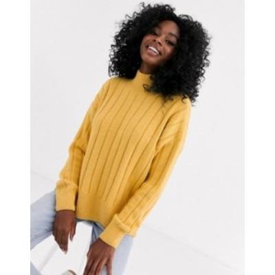 ニュールック レディース ニット・セーター アウター New Look wide rib side split sweater in yellow Yellow