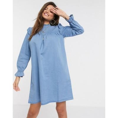ウェアハウス ミディドレス レディース Warehouse pintuck shift dress in denim blue エイソス ASOS
